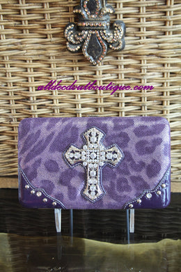 ADO | Purple Clutch Wallet with Embellished Cross