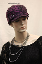 Newsboy Round Top Hat | Purple Leopard Print with Black Pendant Clear Rhinestones