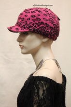 Newsboy Round Top Hat | Pink Leopard Print with Black Pendant Clear Rhinestones