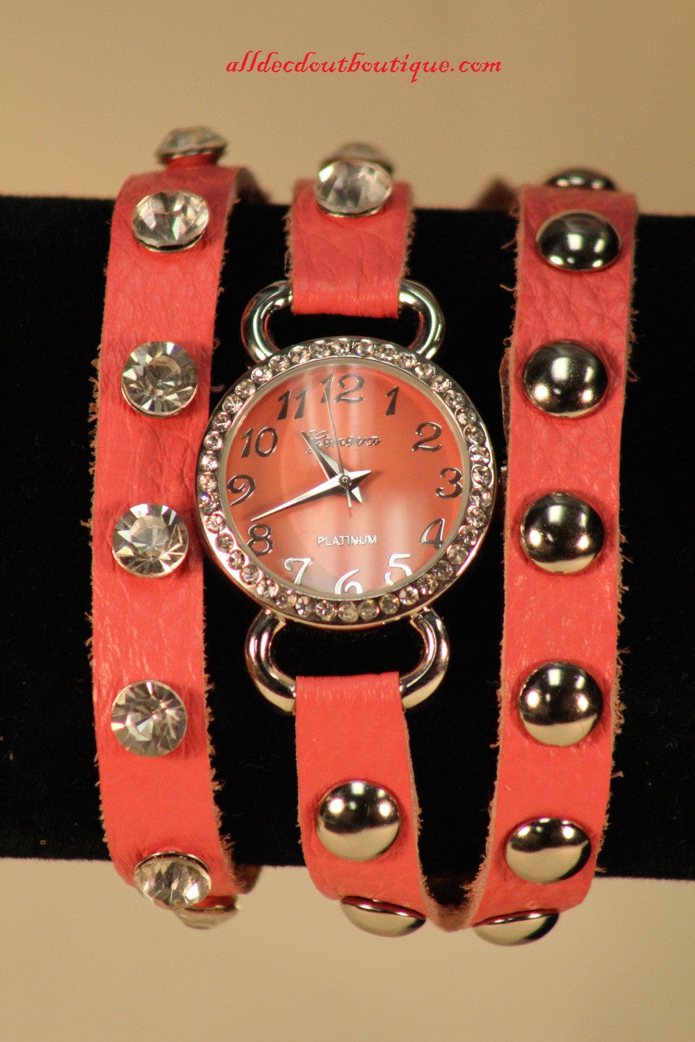 Pink/Pink Silver Studs & Clear Rhinestones | Leather Band w/ Button Clasp