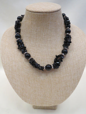 ADO | Black Beaded Necklace with Rhinestones - All Decd Out