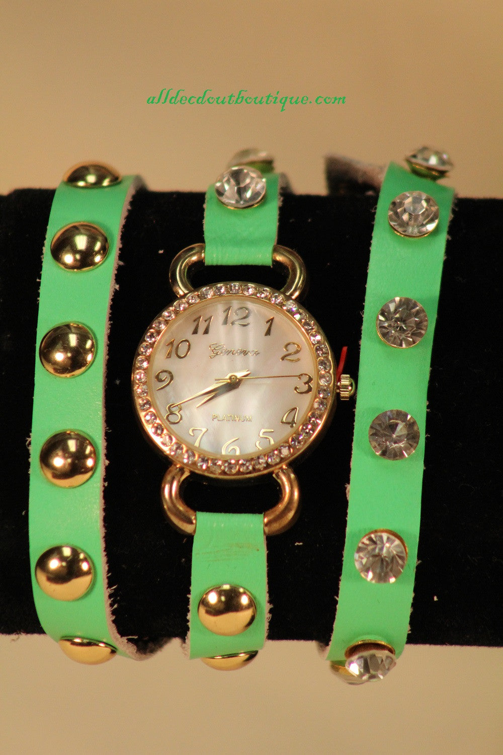 Green/White Silver Studs & Clear Rhinestones | Leather Band w/ Button Clasp