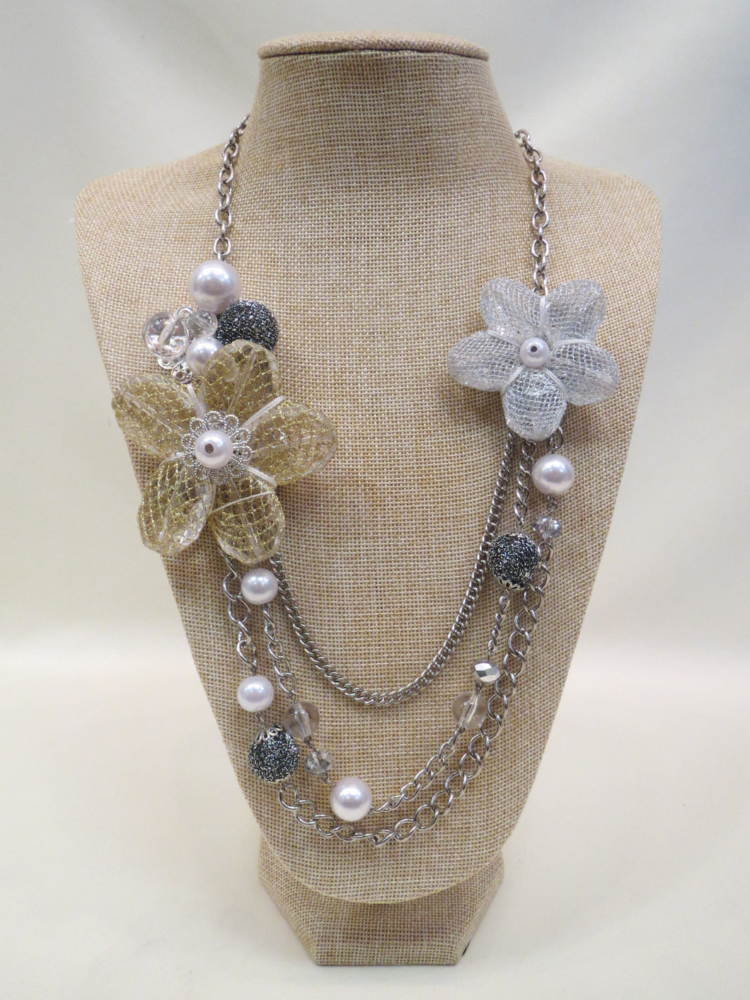 ADO | Flower Charm Layer Necklace Silver - All Decd Out