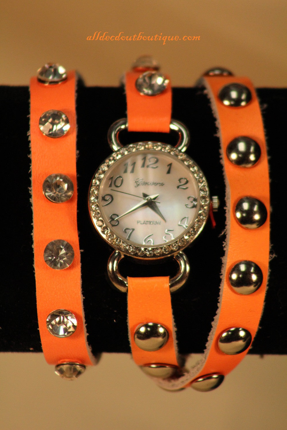 Orange/White Silver Studs & Clear Rhinestones | Leather Band w/ Button Clasp
