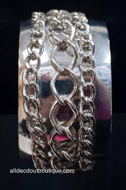 ADO | Silver Cuff Bracelet with Chains