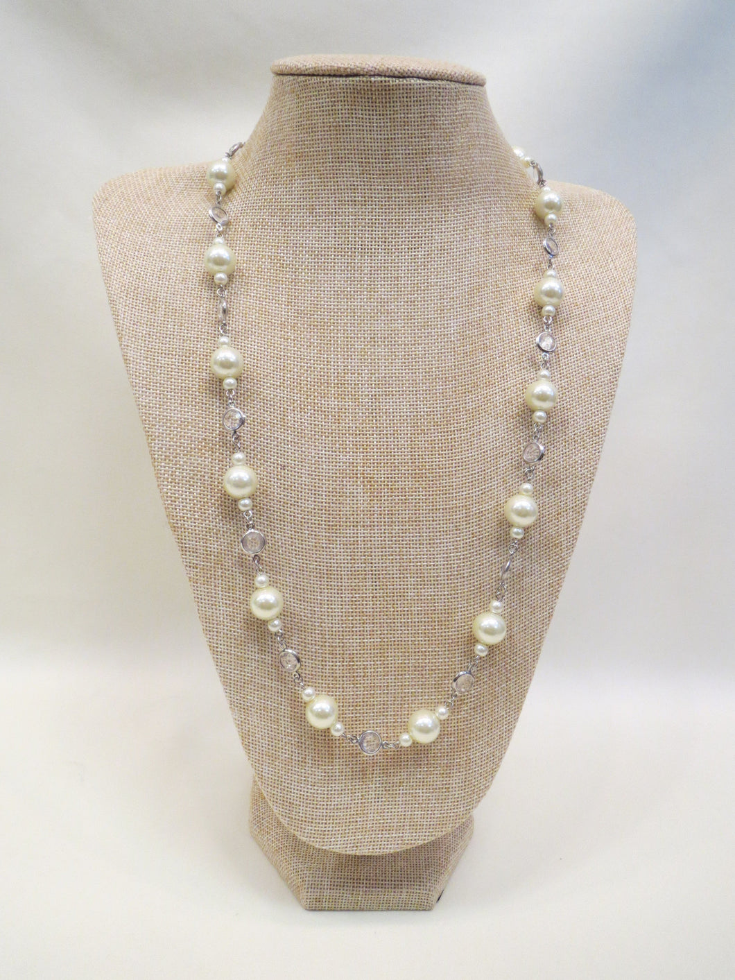 ADO Long Pearl & Crystal Necklace | All Dec'd Out