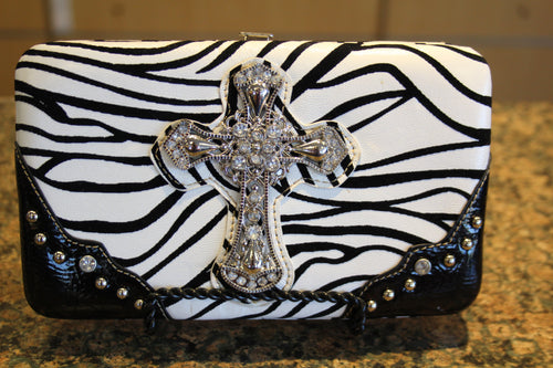 ADO | Bling Cross Zebra Print Clutch Wallet