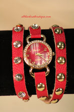 Red/Red Silver Studs & Clear Rhinestones | Leather Band w/ Button Clasp
