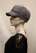 Newsboy Round Top Hat | Knit Black and White with Silver Stitching
