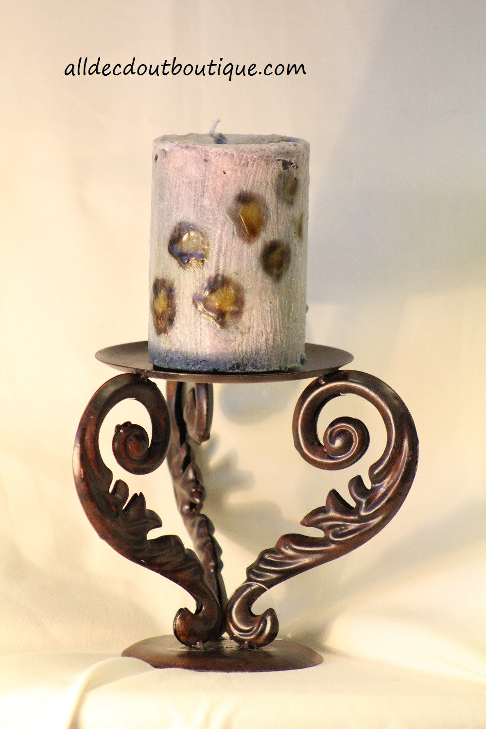 Candle Holder | Metal Scroll Candle Holder Bronze
