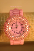 Pink/Pink Rhinestones | Silicone Band