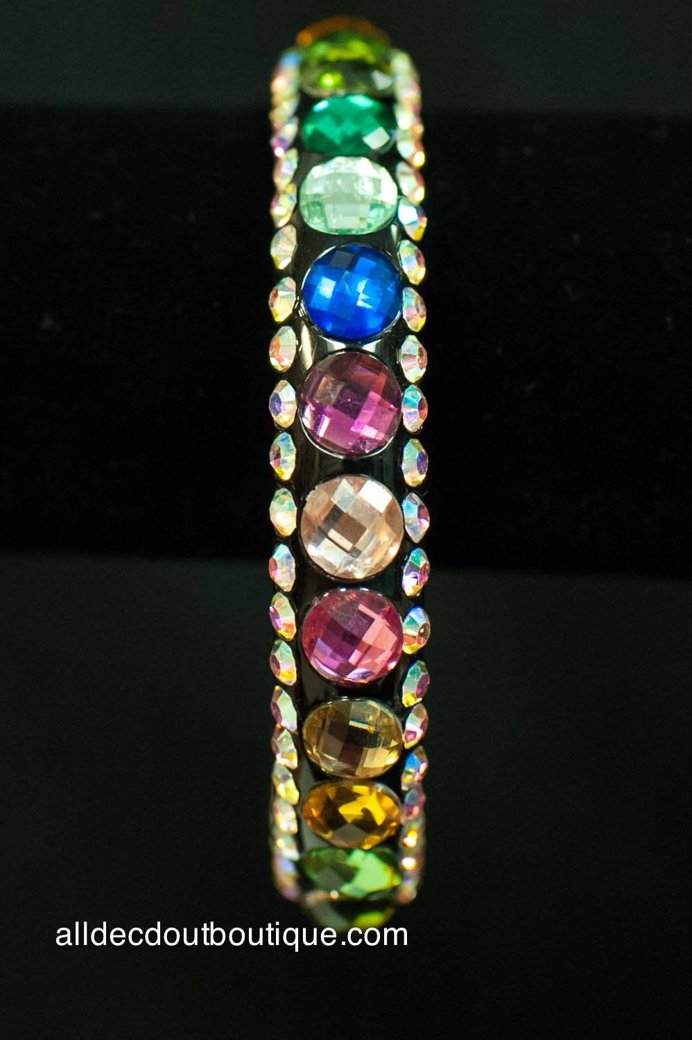 ADO | Thin Black Bangle Bracelet with Multi-Color Stones