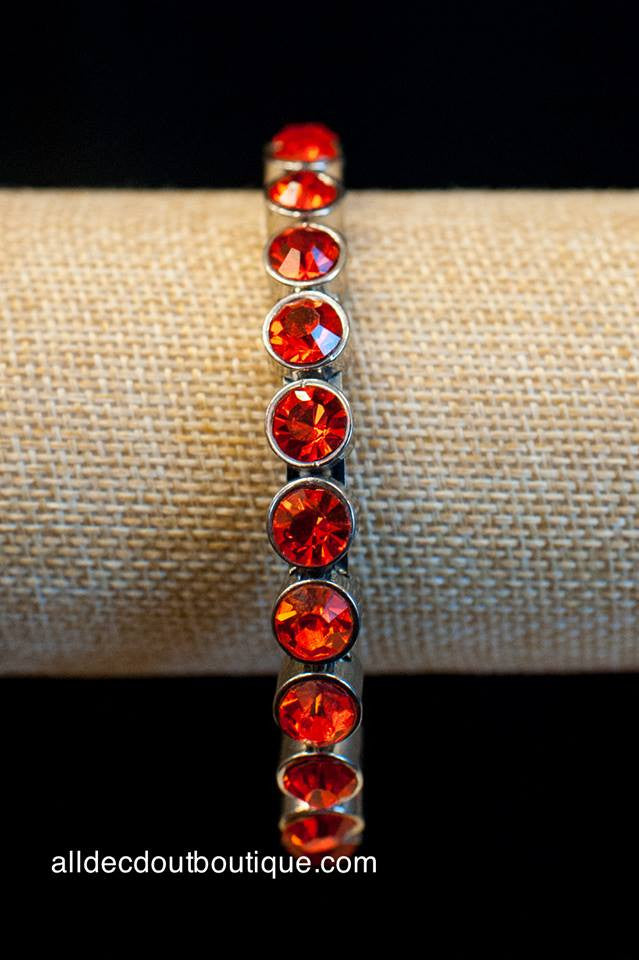 ADO | Silver Magnet Bracelet with Orange Rhinestones