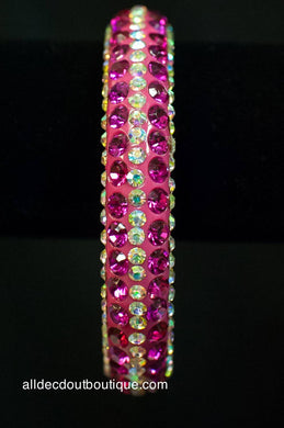 ADO | Pink Thin Bangle Bracelet with Crystal Rows