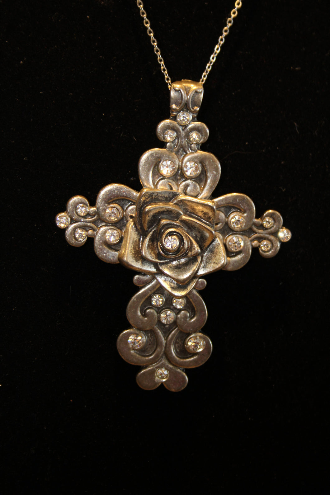 ADO | Engraved Cross with Rose Center & Crystals - All Decd Out