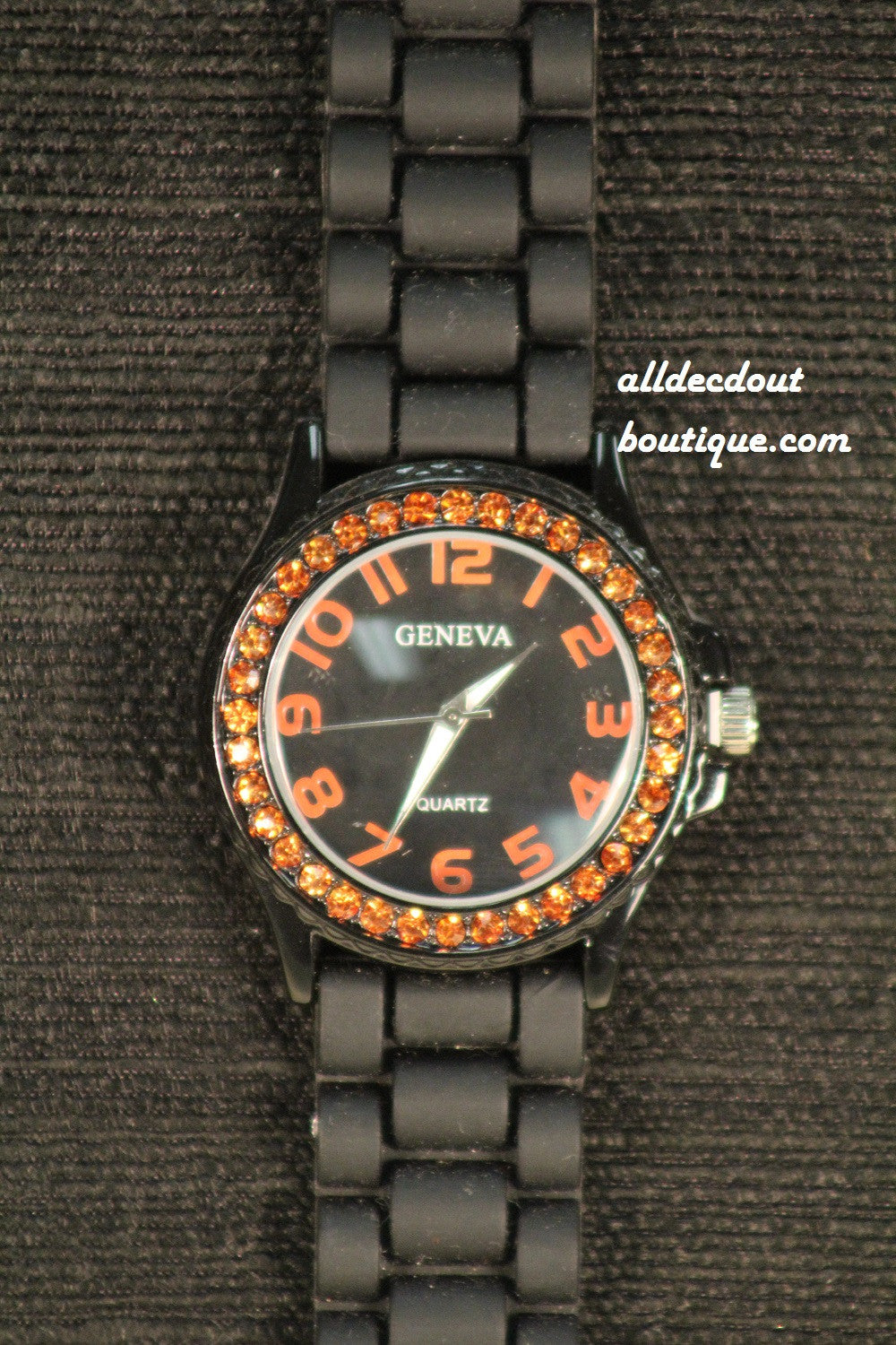 Black/Black Orange Rhinestones | Silicone Band - All Decd Out