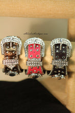 Black/White Silver Studs & Clear Rhinestones Leather Band with Buckle Clasp