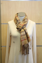 ADO | Cashmere Wrap Scarf Plaid Brown & Red