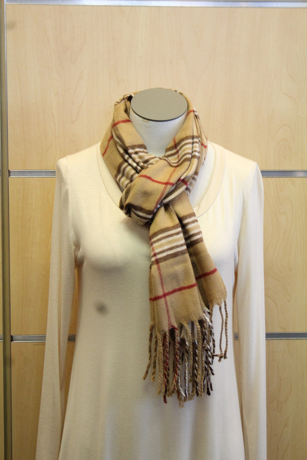 ADO | Cashmere Wrap Scarf Plaid Brown & Red - All Decd Out