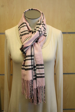 ADO | Cashmere Wrap Scarf Plaid Pink & Black - All Decd Out
