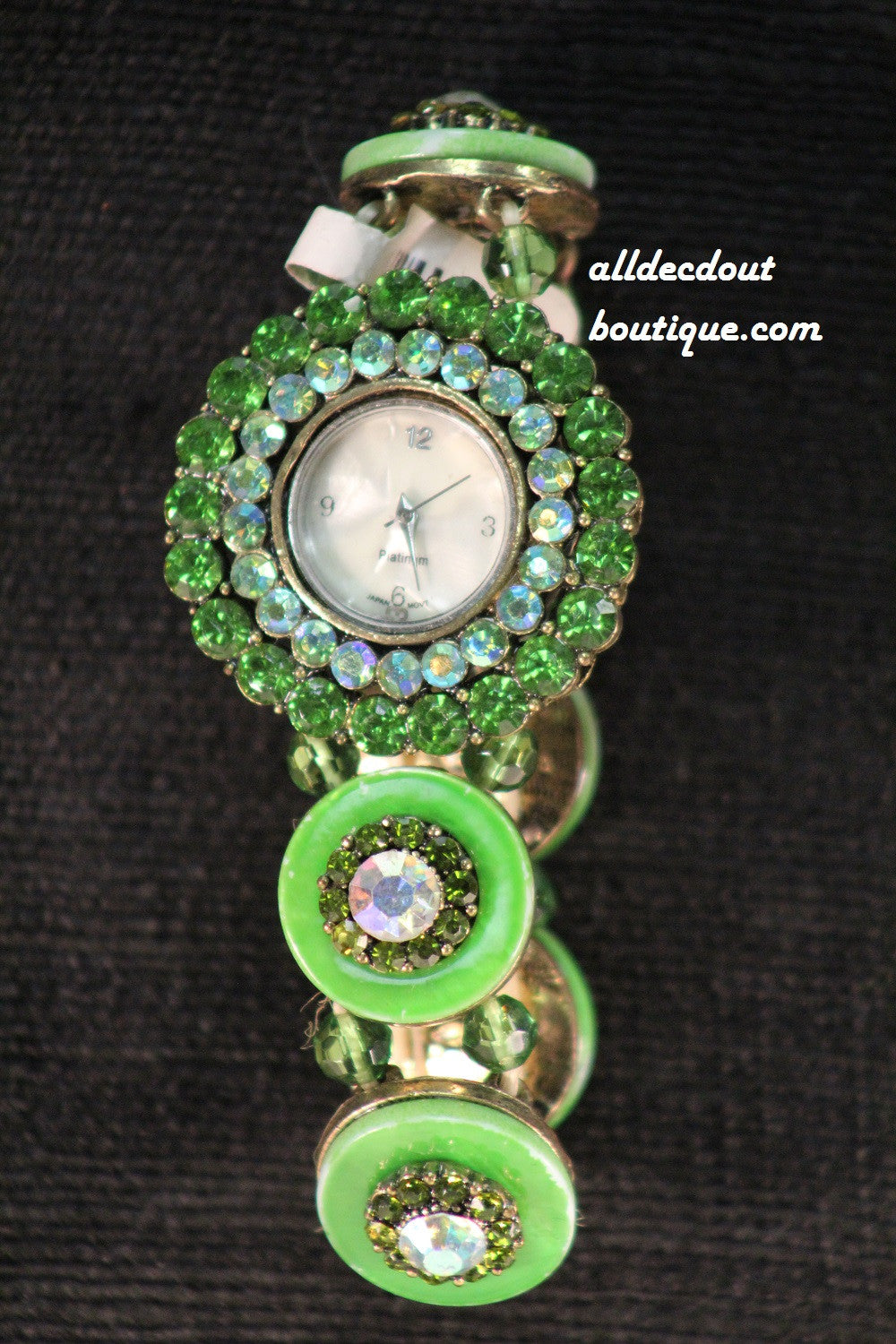Green/White Green Rhinestones & Jewels | One Size Band - All Decd Out