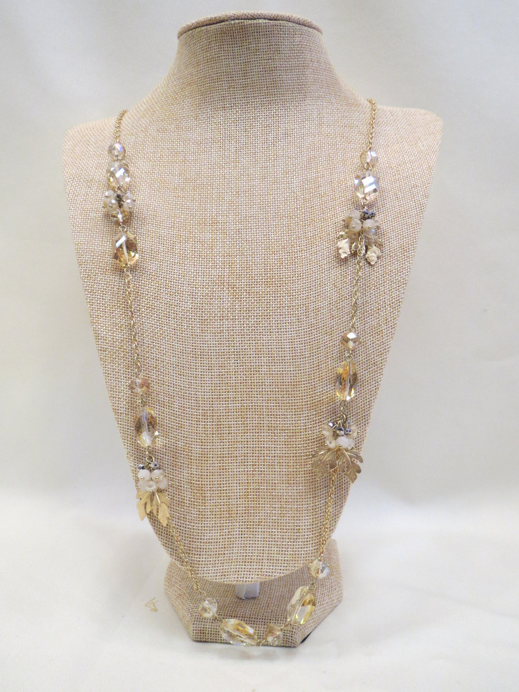 ADO | Gold Leaf & Beads Necklace Long - All Decd Out