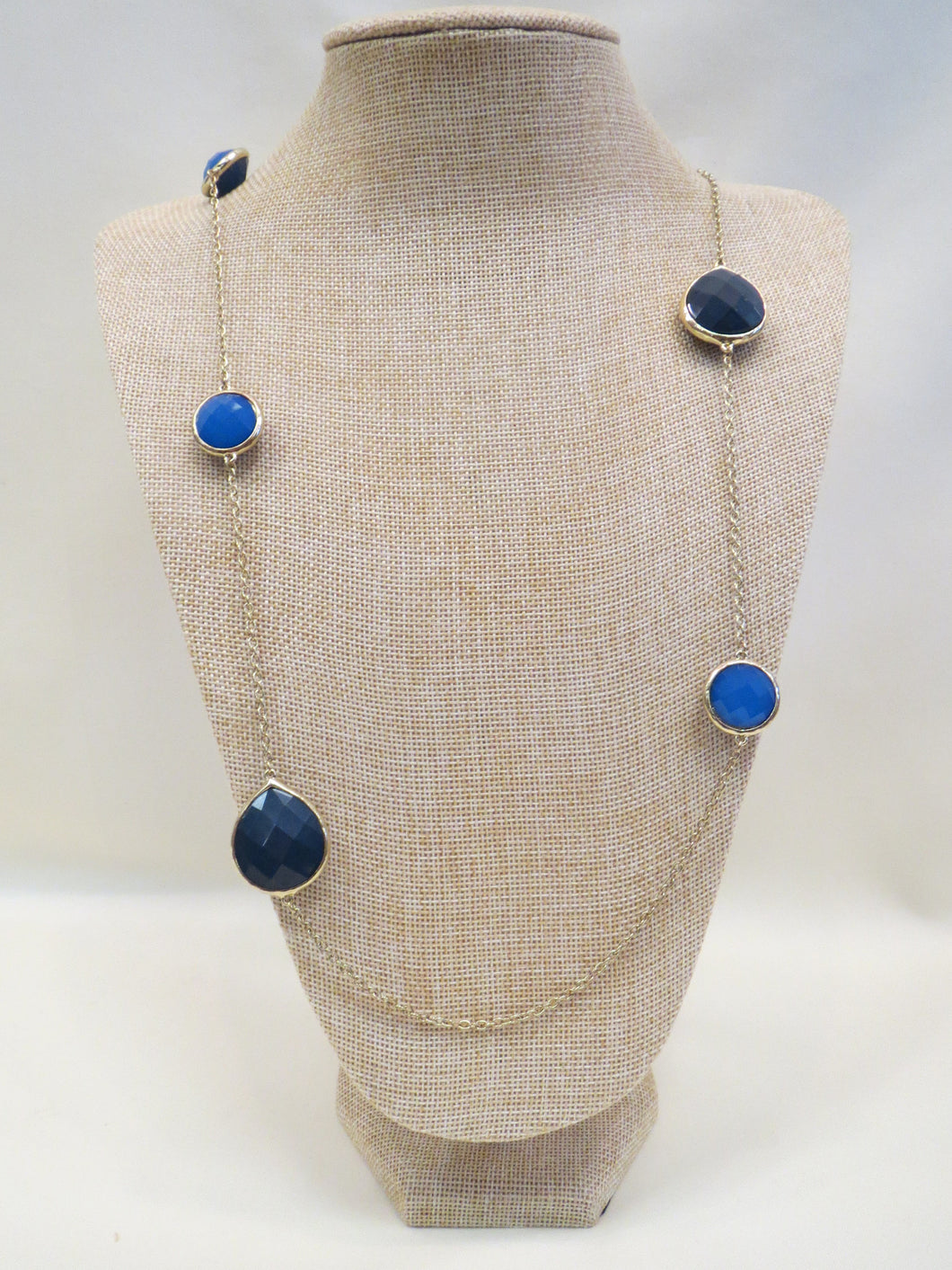 ADO | Blue Stone Necklace Long Gold Chain - All Decd Out