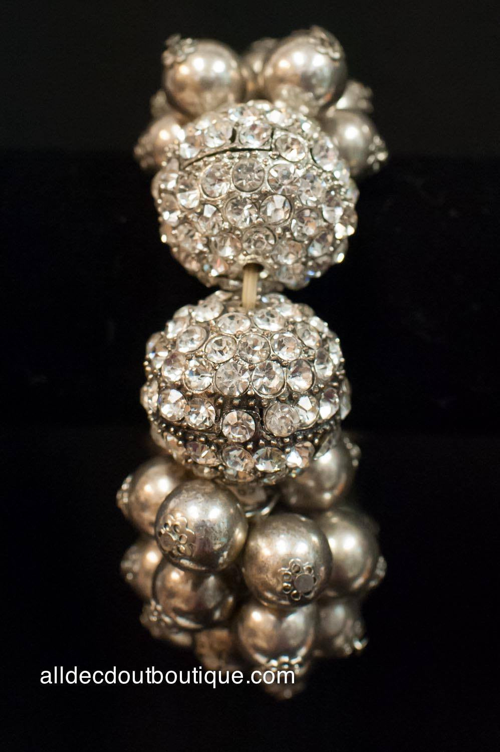 ADO | Silver Cluster Beaded Stretch Bracelet with Crystal Balls
