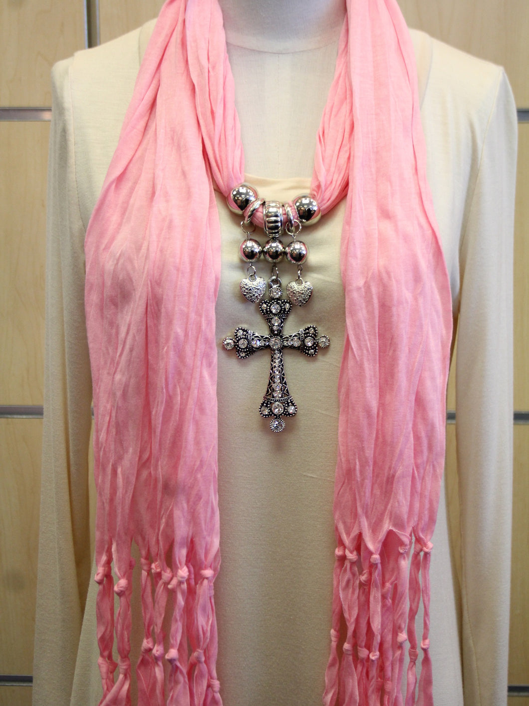 ADO | Jewelry Wrap Scarf Light Pink Cross