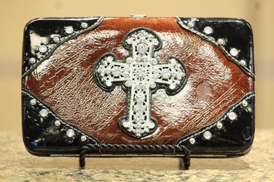 ADO | Embellished Cross Patton Leather Clutch Wallet - All Decd Out