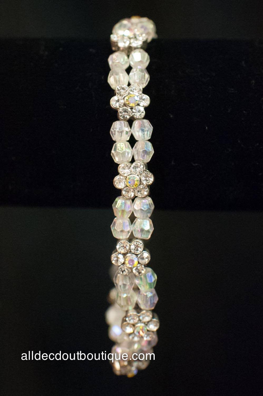 ADO | Beaded Ankle Stretch Bracelet with Crystal Flowers - All Decd Out