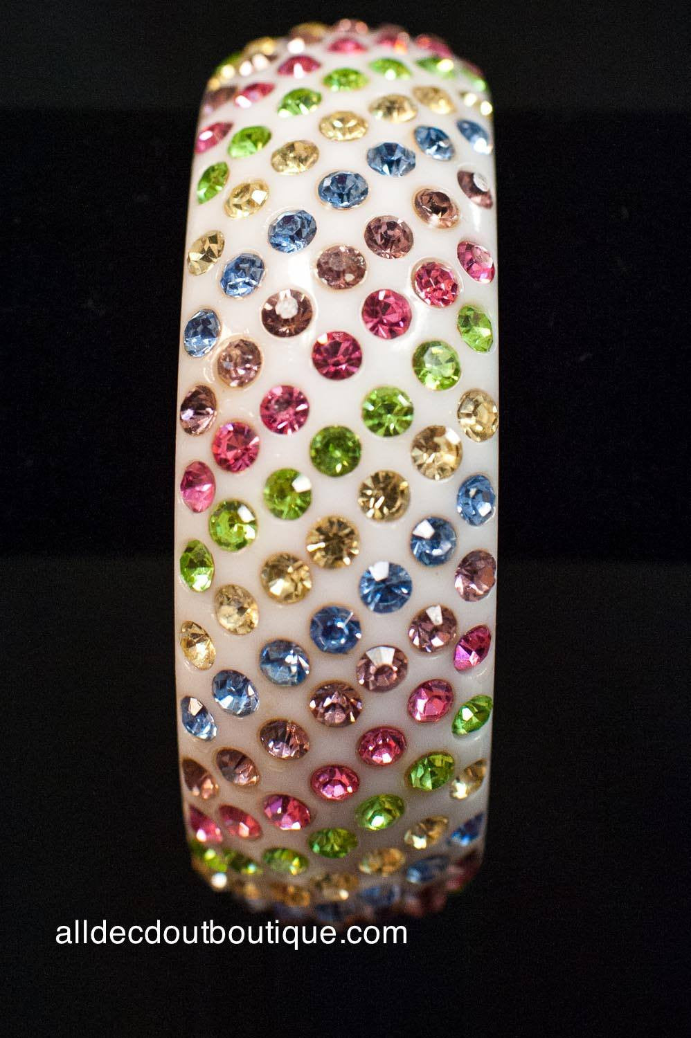 ADO | White Bangle Bracelet with Multi-Color Jewels