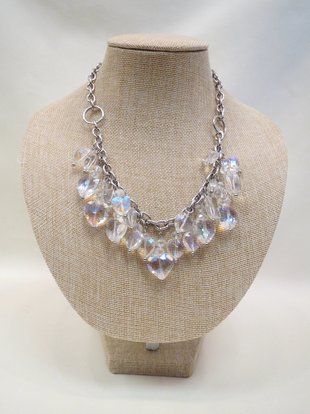 ADO | Heart Crystals Silver Chain Necklace - All Decd Out