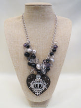 ADO | Chunky Beaded Heart Crown Pendant Necklace - All Decd Out