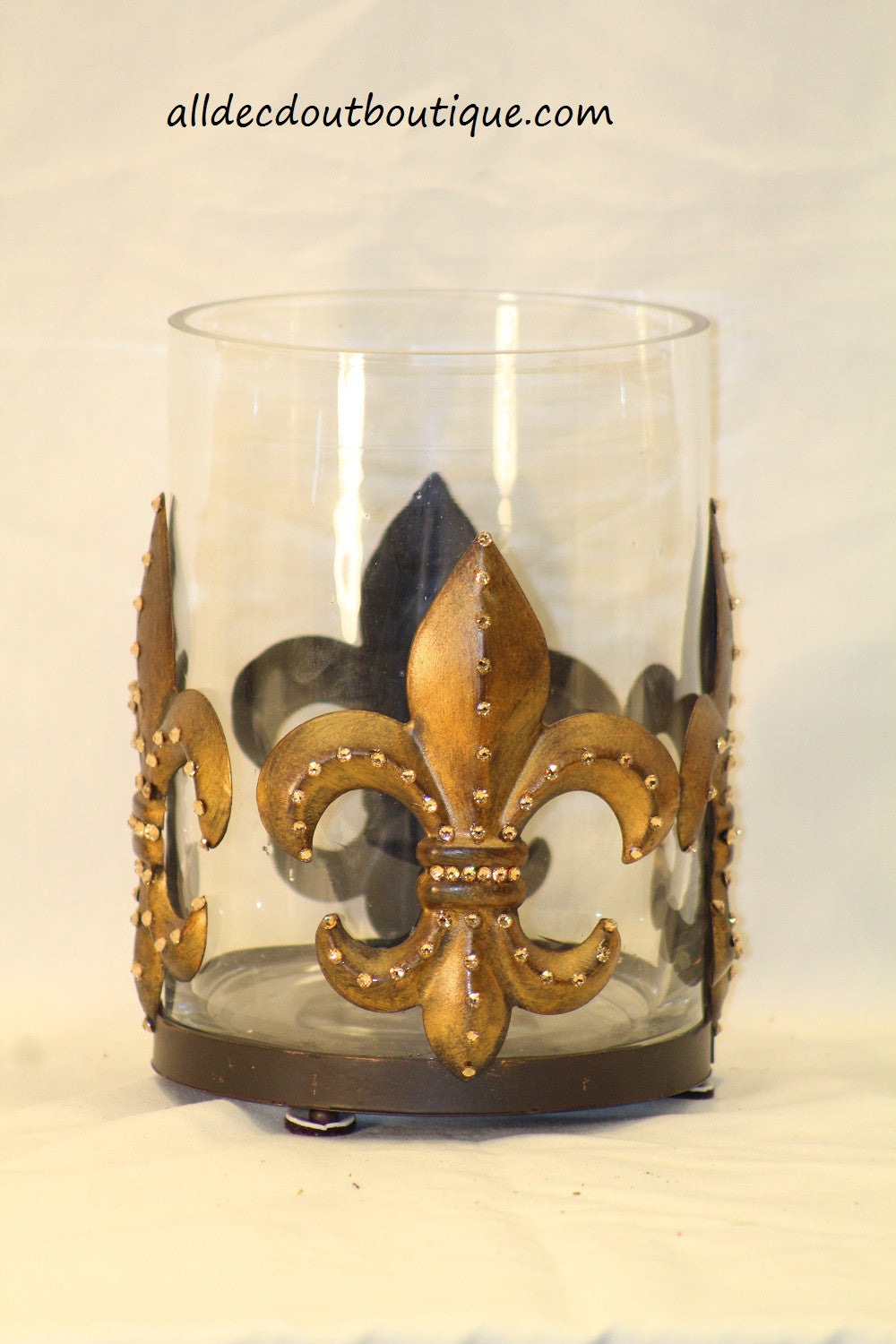 Table Decor Embellished Fleur De Lis Candle Holder