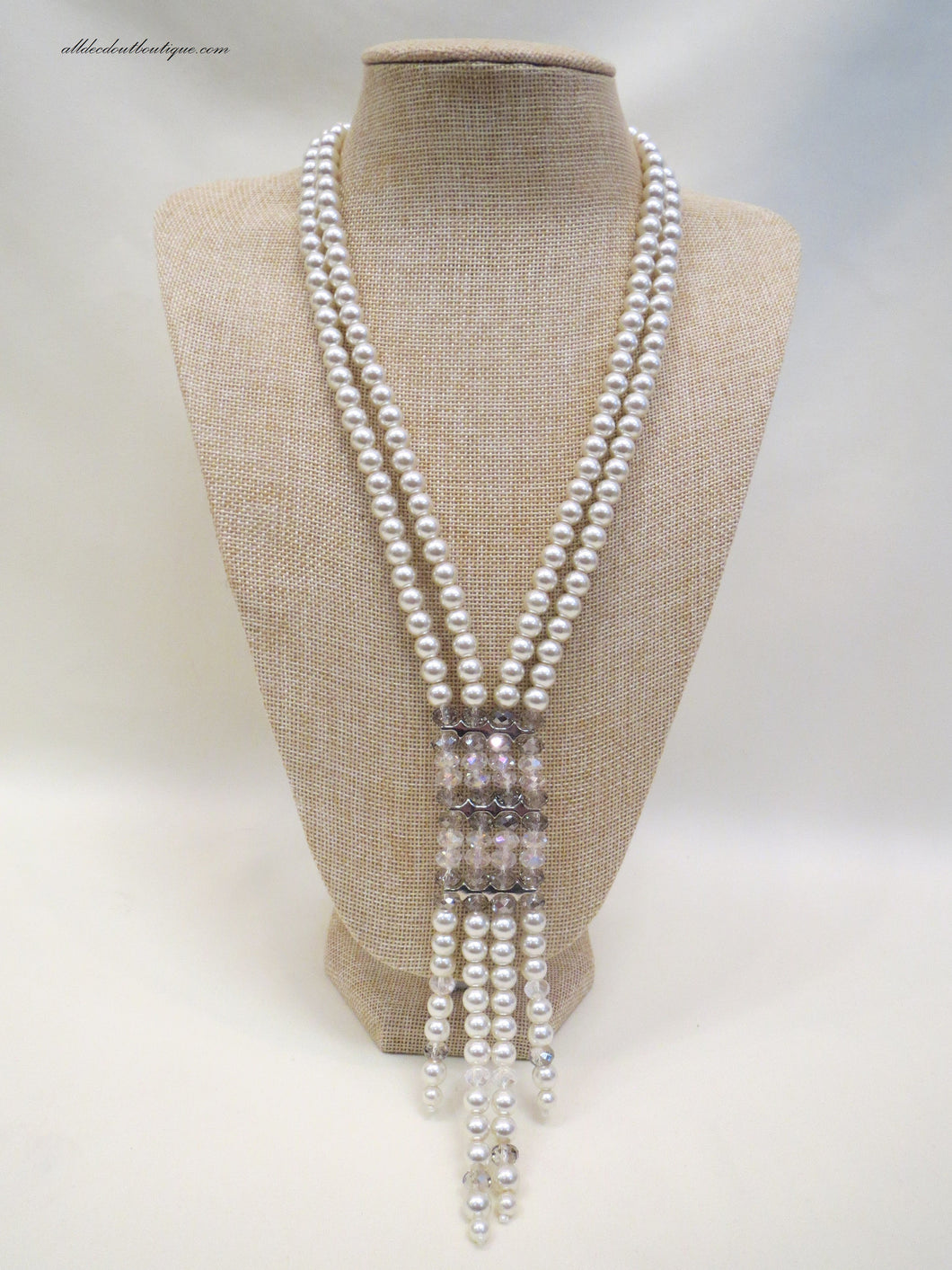 ADO Pearl and Crystal Ladder Necklace | All Dec'd Out