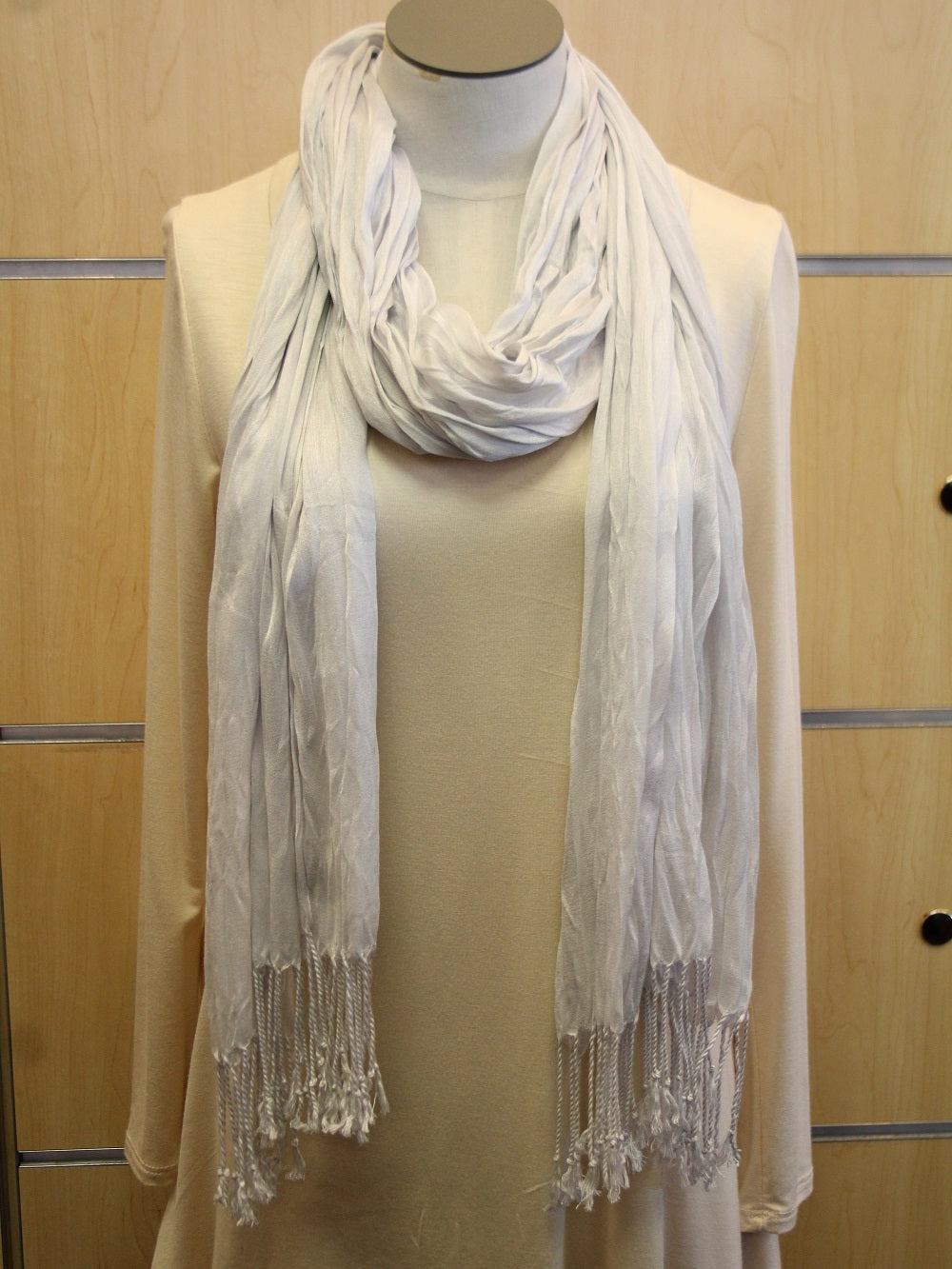 Look By M | Wrap Silver Fringe Scarf