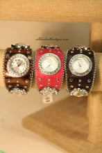 Brown/White Silver Studs & Clear Rhinestones Leather Band with Buckle Clasp