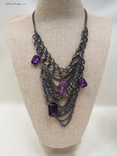 ADO Purple Stones Black Chain Bib Necklaces | All Dec'd Out