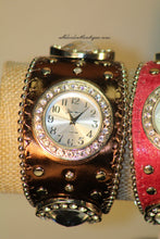 Brown/White Silver Studs & Clear Rhinestones | Leather Band with Button Clasp