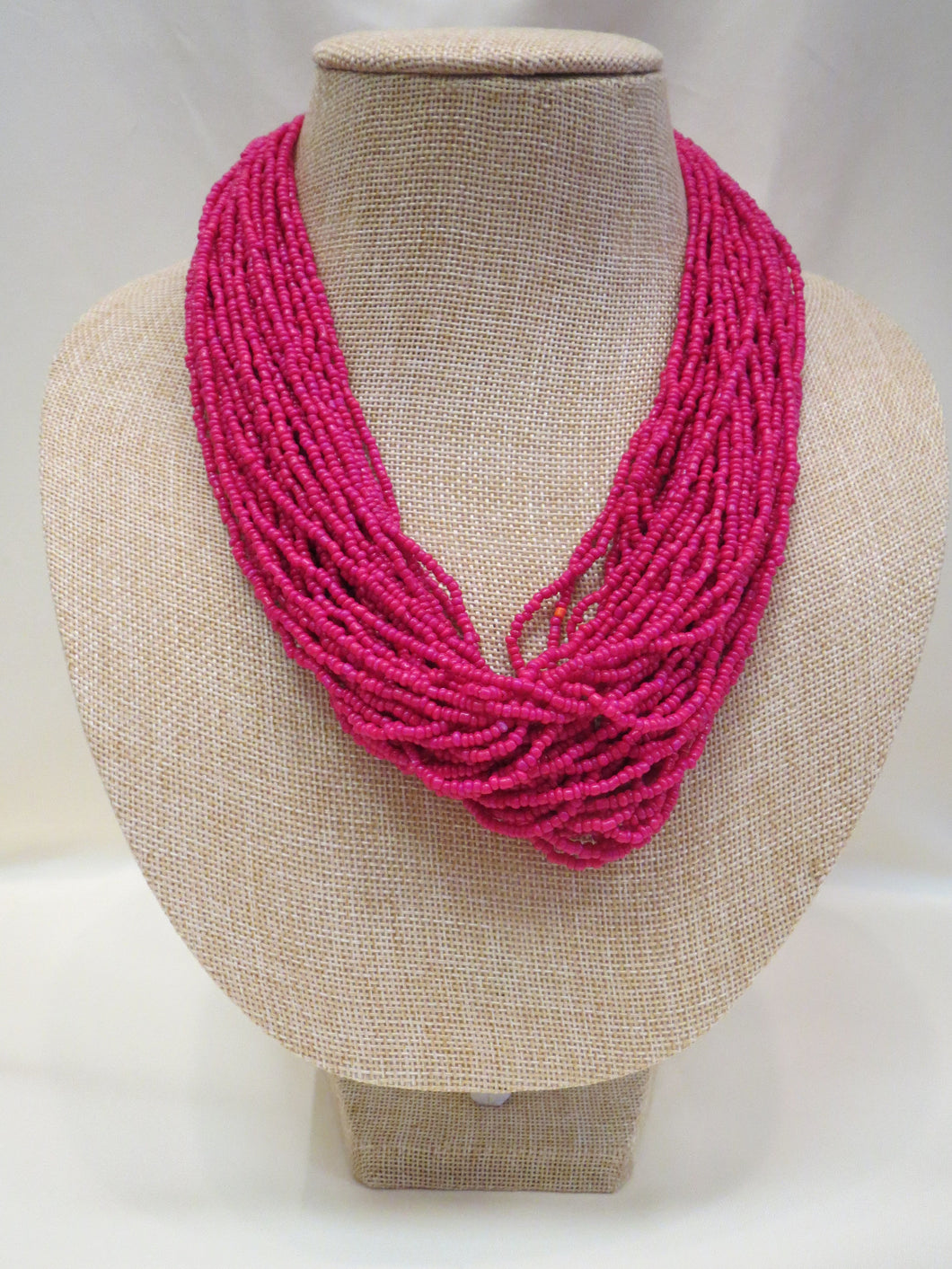 ADO | Hot Pink Multi Strand Mini Bead Necklace - All Decd Out