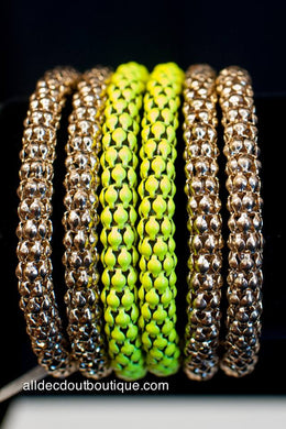 ADO | Gold & Yellow Wrap Around Mesh Bracelet - All Decd Out