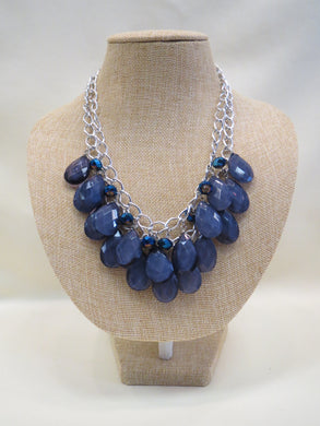 ADO | Blue Double Layer Necklace Silver Chain - All Decd Out