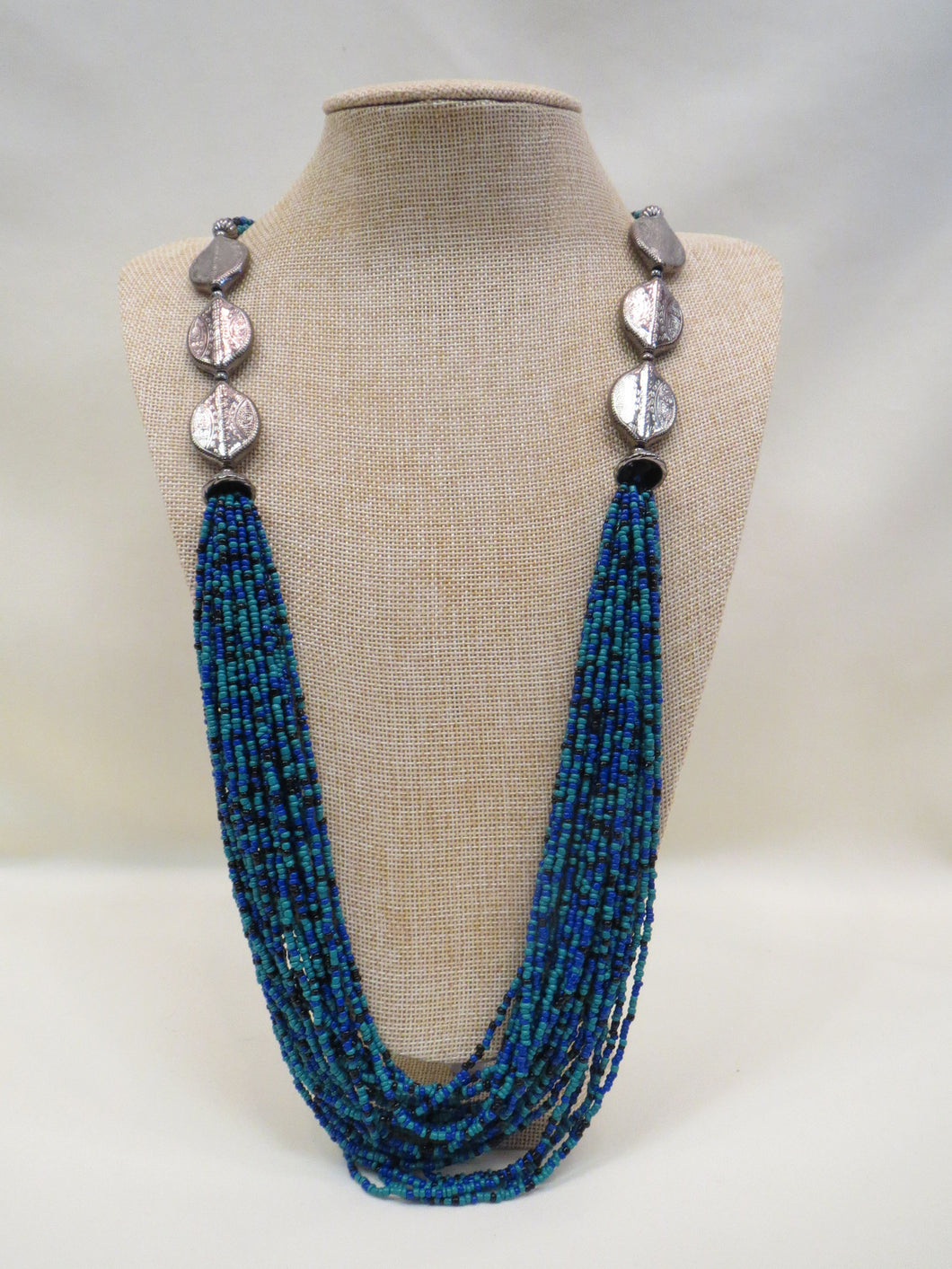 ADO Long Beaded Necklace with Silver Medallions | All Dec'd Out
