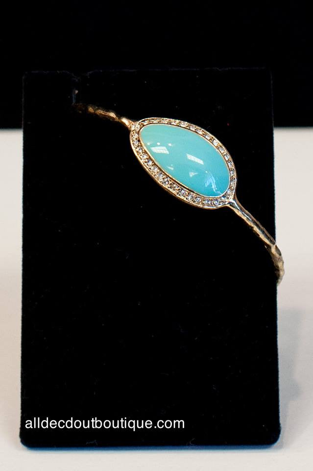 ADO | Metal Bangle Bracelet with Turquoise Stones