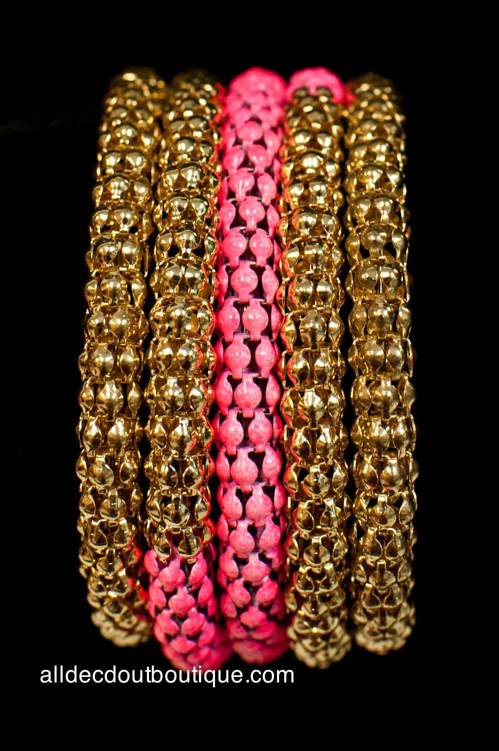 ADO | Gold & Pink Wrap Around Mesh Bracelet - All Decd Out