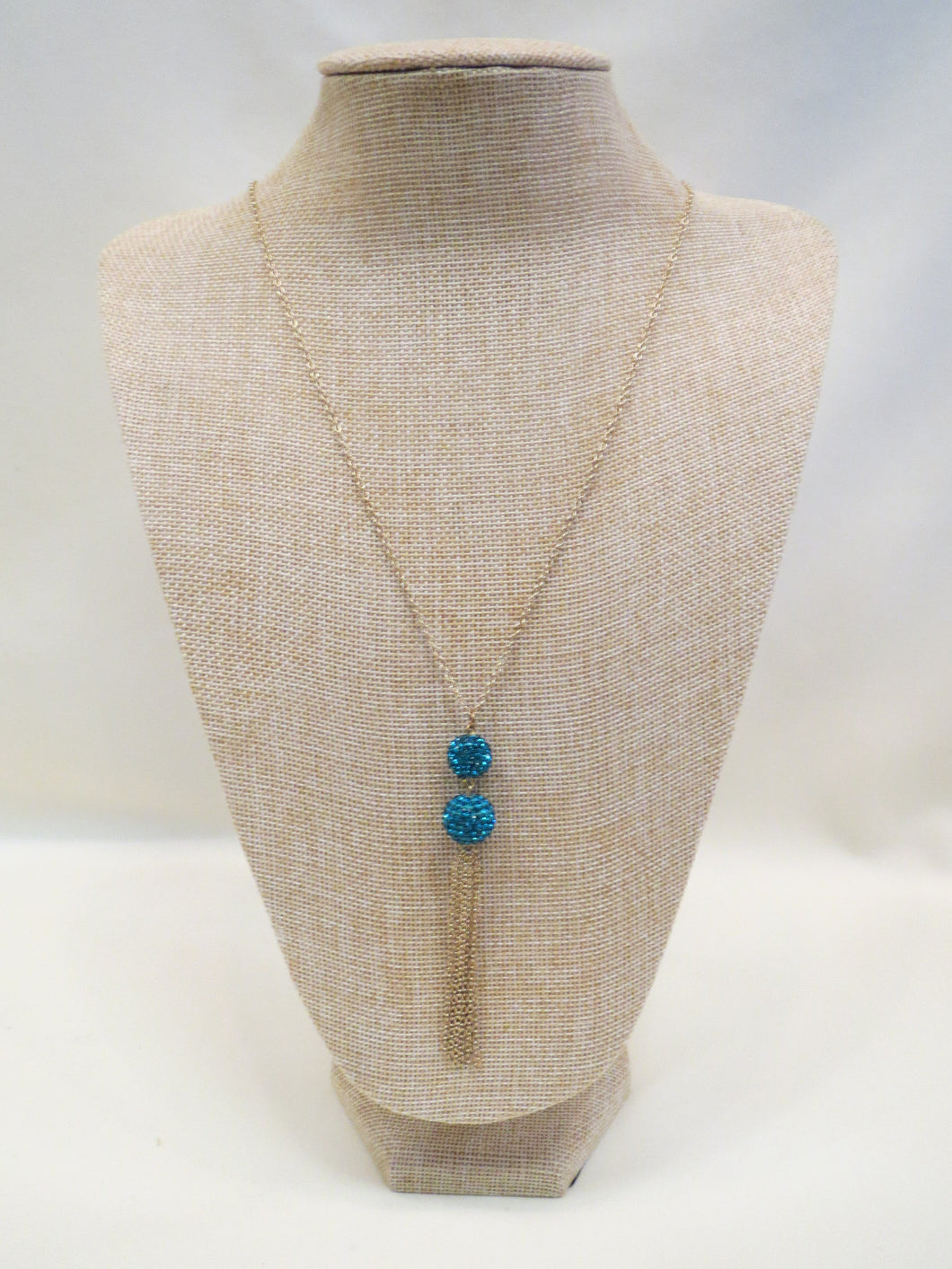 ADO | Blue Swarovski Twin Tassel Necklace - All Decd Out