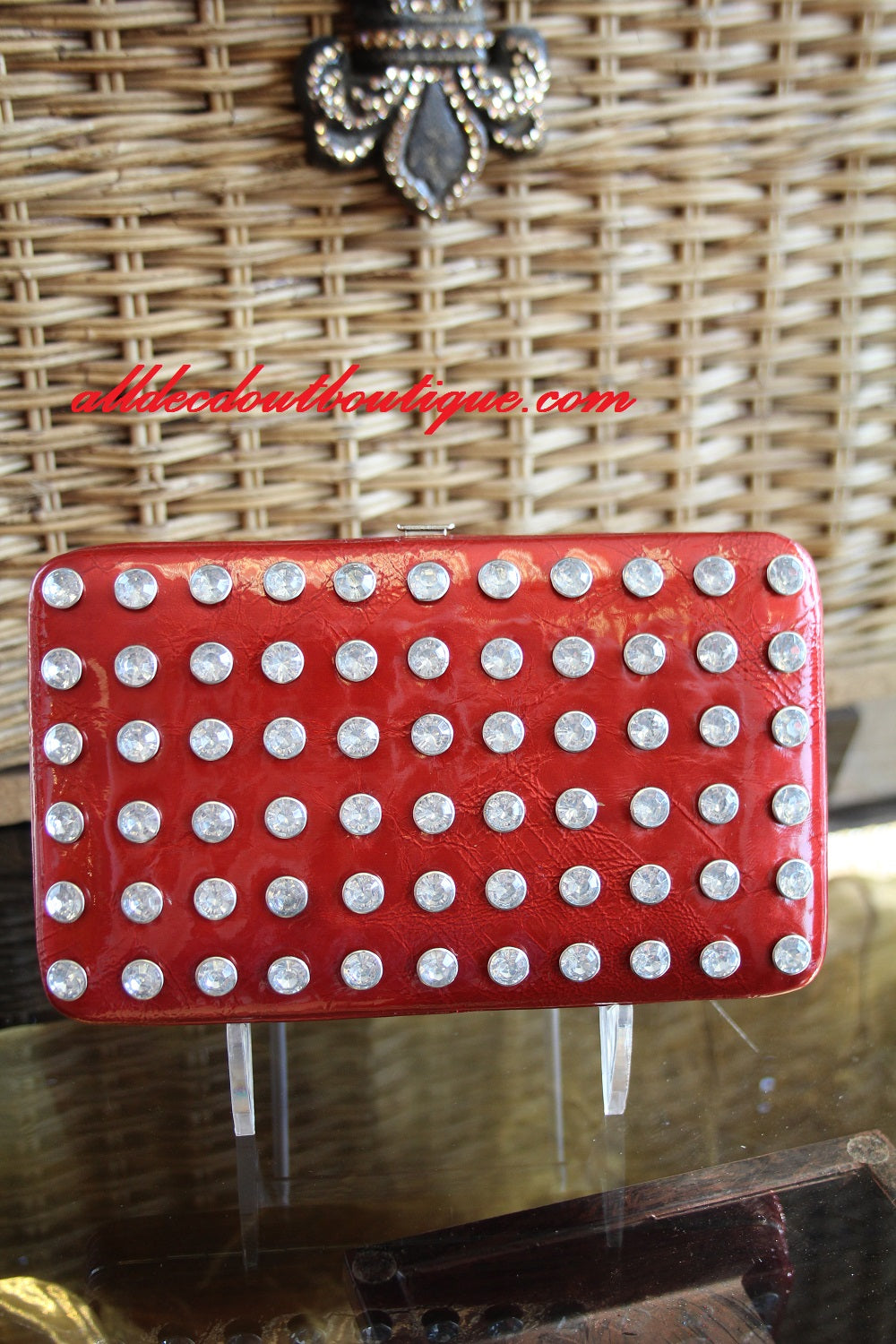 ADO | Bling Dark Red Clutch Wallet - All Decd Out