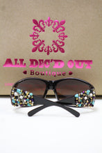ADO | Customized Sunglasses Black with Cross & Bling Turquoise - All Decd Out
