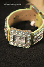 Green/White Clear Rhinestones Leather Band with Buckle Clasp